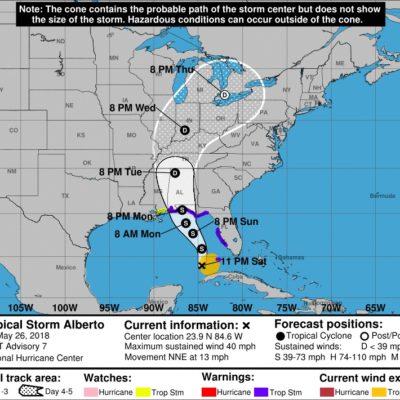 MONITOREO EN EL CARIBE: Levantan alerta tras alejamiento de la tormenta subtropical 'Alberto'