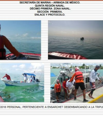 Rescatan barco a la deriva en Chetumal