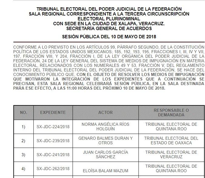 Casos de Quintana Roo acaparan mañana agenda del Tribunal Electoral Federal en Xalapa, pero el expediente 'Chanito' Toledo se verá hasta la siguiente semana
