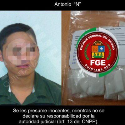 Detienen a narcomenudista con 77 bolsitas de  cocaína en Tulum