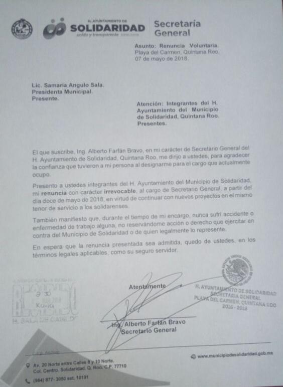 Renuncia Alberto Farfán a la Secretaría del Ayuntamiento de Solidaridad