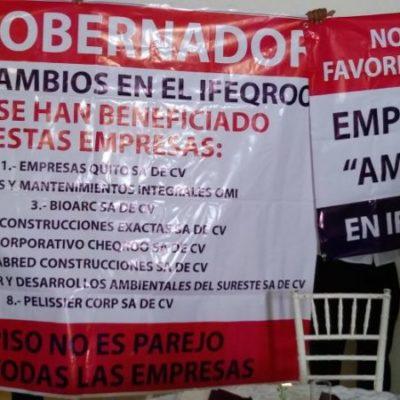 En la toma de protesta de la CMIC, denuncian favoritismo a empresas constructoras por parte del director del Ifeqroo; manifestantes son amedrentados