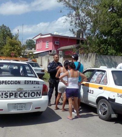 Interviene Sintra en nueva confrontación entre taxistas de Bacalar y Chetumal