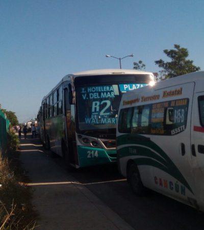 PLEITO DE TRANSPORTISTAS EN CANCÚN: Urvans de Transporte Terrestre Estatal impiden paso a unidades de Turicún en Villa del Mar 2