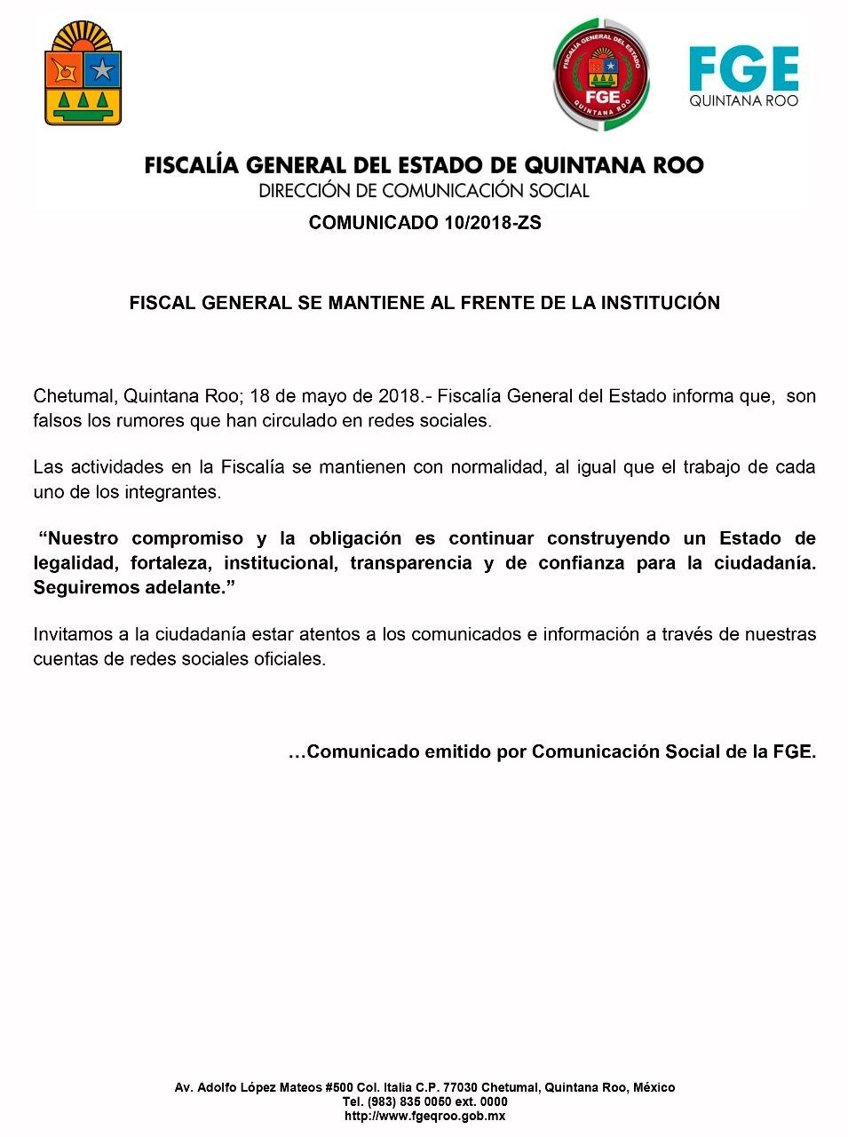 Mediante un comunicado, Fiscalía ratifica que Miguel Ángel Pech Cen sigue al frente de la institución