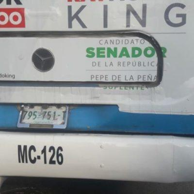 Sin ley los conductores del transporte público en Cancún; unidades colisionan y una niña resulta herida