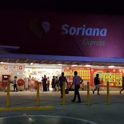 Asaltan sujetos armados Soriana de la Región 107 de Cancún