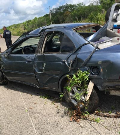 Mujer sale ilesa de aparatoso accidente carretero en Carrillo Puerto