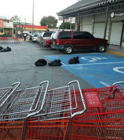 Sigue la violencia en el país: encuentran cinco bolsas con restos humanos en un Soriana, una hielera con un descuartizado y un triple homicidio en Tamaulipas