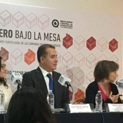 Facturas simuladas, empresas fantasmas y contratos públicos con sobrecostos, algunas de las 'estrategias' para inyectar dinero de la federación a las campañas políticas, denunció hoy Mexicanos Contra la Corrupción