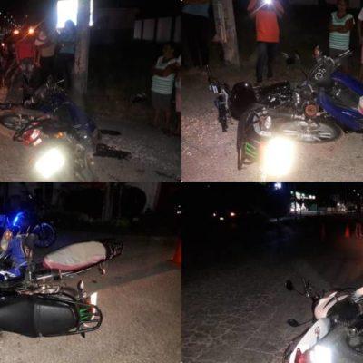 Chocan cuatro motos en el mismo cruce de José María Morelos