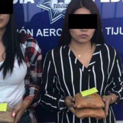 Detienen en aeropuerto de Tijuana a dos jovencitas que transportaban heroína oculta en sus glúteos