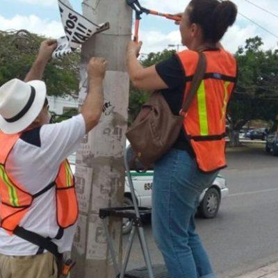 Vecinos se unen y limpian postes de publicidad prohibida