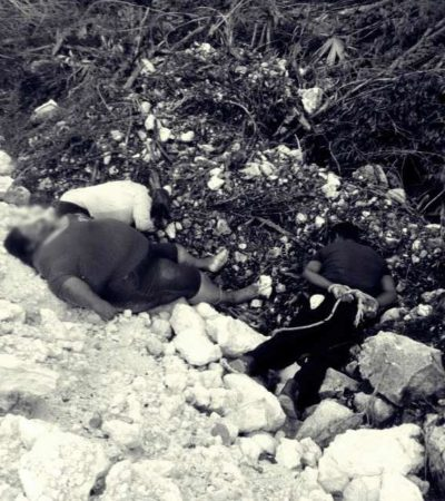 TRIPLE EJECUCIÓN EN CANCÚN: Encuentran cuerpos maniatados de 3 personas por el libramiento de la carretera rumbo a Mérida, por Gas Auto