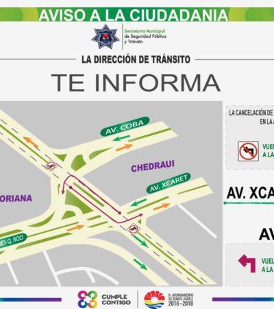 Prohibirán vuelta a la izquierda en Avenida Xcaret y Cobá