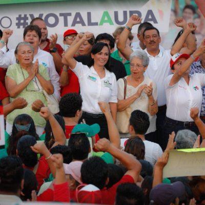 CIERRE DE CAMPAÑA EN PUERTO MORELOS: Laura Fernández dice que su fortaleza es la experiencia y asegura que va por el triunfo