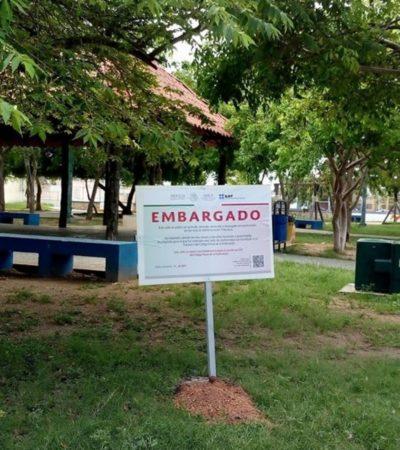 Embarga el SAT escuela, parque y predios del fraccionamiento El Petén en Playa del Carmen