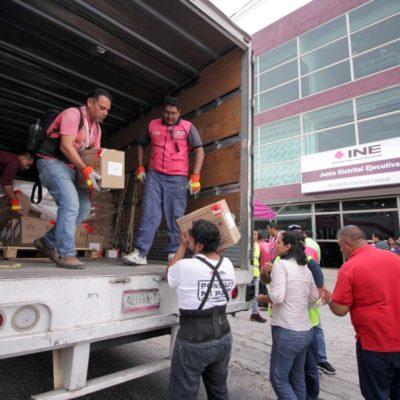Llega más de un millón de boletas electorales a Cancún; el material custodiado fue distribuido en los Distritos 03 y 04