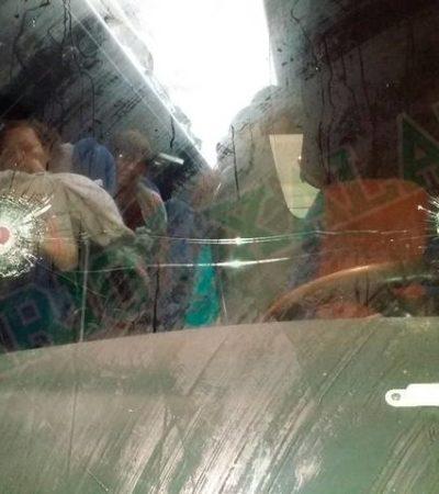 Disparan contra autobús de pasajeros que viajaban de Tapachula a Cancún; dos heridos