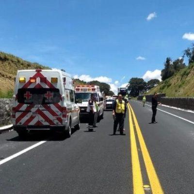 Deja accidente en la autopista Amozoc-Perote una mujer muerta y cuatro heridos