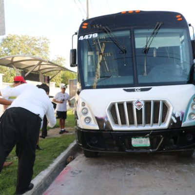 SORPRESOTA EN CAMIÓN DE TRANSPORTE DE PERSONAL: Rescatan a una boa que se trepó a una llanta en el estacionamiento de hotel Hard Rock en la Riviera Maya