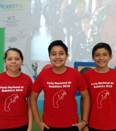 Ganan niños campechanos primer lugar en la Feria Nacional de Robótica