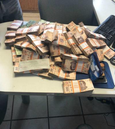 Detienen a un policía de Acapulco que transportaba casi 3 millones de pesos en efectivo