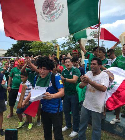 FESTEJA CANCÚN TRIUNFO DE MÉXICO: Cientos se reúnen en el Ceviche para celebrar el 2-1 del Tri ante Corea del Sur