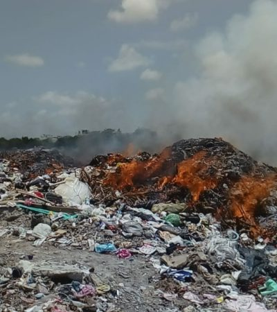 ARDE OTRA VEZ EL BASURERO DE CALDERITAS: Por segunda vez en el año, se incendia relleno sanitario y ya van 4 hectáreas afectadas