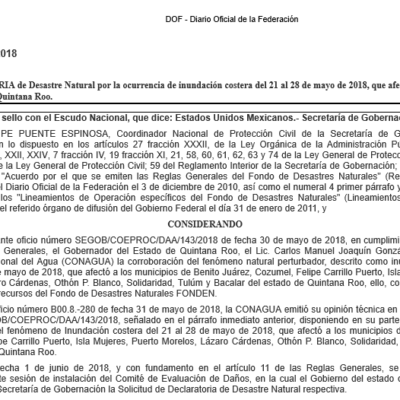 Recursos del Fondo de Desastres Naturales se aplicarán en Quintana Roo por inundación y ola de calor