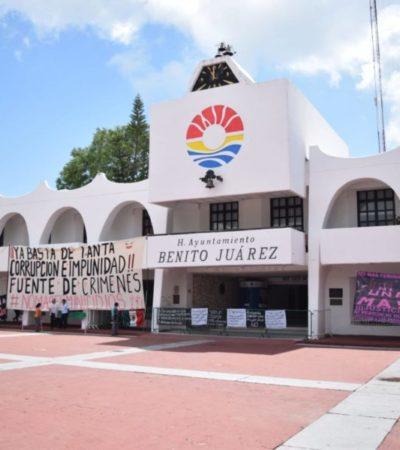 Protestan contra feminicidios, por segunda ocasión, en Ayuntamiento de BJ