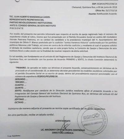 Candidatos de Morena-PT tampoco pueden usar imagen de AMLO: Ieqroo