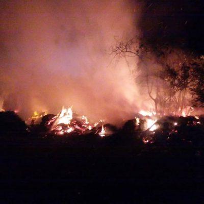 Bomberos apagan incendios en carretera federal de Tulum