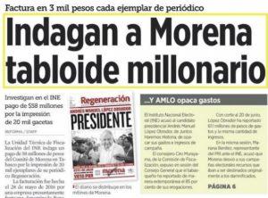 Arremete diario Reforma contra AMLO por supuesta investigación que el INE desmiente