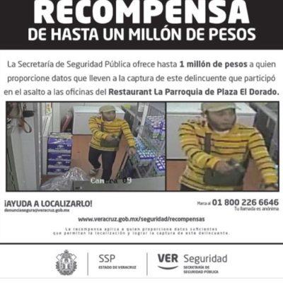 Ofrecen autoridades de Veracruz un millón por información de asaltantes que robaron cien mil pesos en el Café de la Parroquia de Boca del Río