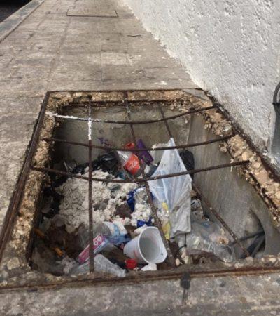 Son un riesgo registros sin tapa en aceras del Señorial Barrio de Guadalupe en Campeche