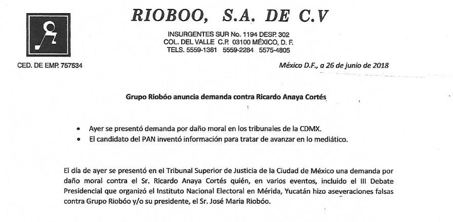 Emplaza Riobóo a Anaya a probar acusaciones o retractarse; lo demanda por daño moral