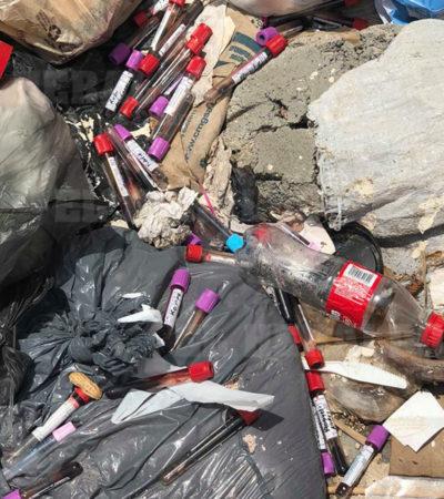Tiran a la calle envases con muestras de sangre en Tuxtla Gutiérrez