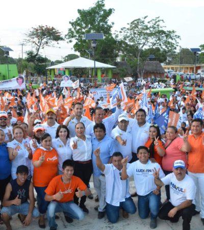Candidatos del 'Frente' realizan Marcha por la Paz en Puerto Morelos