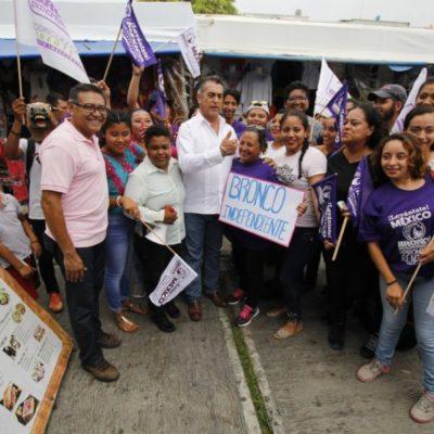 Para terminar con la violencia, 'El Bronco' dice que vivirá una temporada en Cancún; a 16 días de la elección, realiza su primera visita a esta ciudad