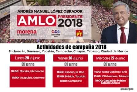 CERRARÁ AMLO EN 'SANTUARIO' DEL PRI EN CANCÚN: Candidato de Morena terminará su campaña en QR en la Región 228 el próximo martes 26 de junio