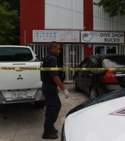 DRAMÁTICO ASALTO EN EL CENTRO DE CANCÚN: Muy cerca de la entrada a la Zona Hotelera, ladrón termina baleado al forcejear con el dueño de un negocio