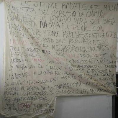 Aparece presunta narcomanta con 'mensaje' para el director de la cárcel de Cancún
