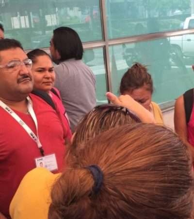 PROTESTA EN EL INE CANCÚN: Funcionarios electorales demandan recursos económicos y mobiliario para operar Mesas Directivas de Casilla