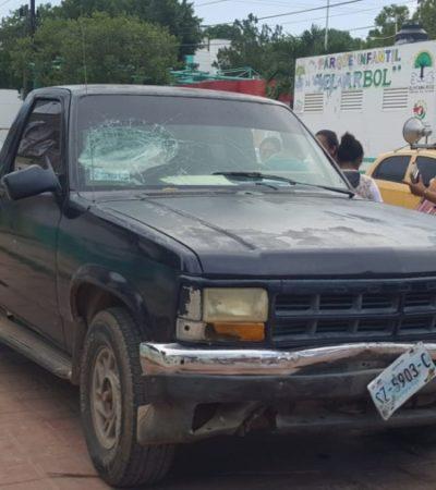 VIOLENCIA ELECTORAL EN LA ZONA MAYA. Arremeten con batazos contra camioneta del PRI en José María Morelos