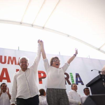 AMLO asegura que, otra vez, ganará en Quintana Roo y da respaldo a Laura Beristaín en Solidaridad