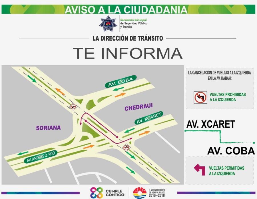 Caos total provoca cancelación de vueltas a la izquierda en avenidas Xcaret y Cobá con Kabah