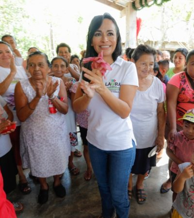 Mayor desarrollo humano, promete Laura Fernández para Puerto Morelos