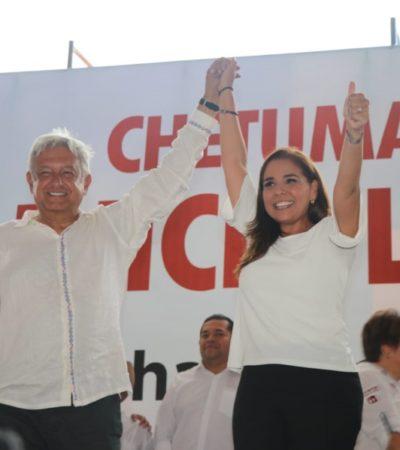 Va Mara Lezama con López Obrador a Chetumal y dice que el próximo Presidente será un aliado de Cancún