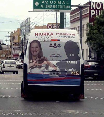 SUSTITUYE PES PROPAGANDA EN CANCÚN: Niurka quita la imagen de AMLO, pero se publicita junto a la silueta de 'ya sabes quien'